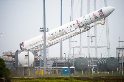 Antares Rocket Raised at Launch Pad