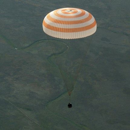 The Soyuz TMA-15M spacecraft is seen as it lands with Expedition 43 commander Terry Virts of NASA, cosmonaut Anton Shkaplerov of the Russian Federal Space Agency (Roscosmos), and Italian astronaut Samantha Cristoforetti from European Space Agency (ESA) near the town of Zhezkazgan, Kazakhstan on Thursday, June 11, 2015. Virts, Shkaplerov, and Cristoforetti are returning after more than six months onboard the International Space Station where they served as members of the Expedition 42 and 43 crews. Photo Credit: (NASA/Bill Ingalls)