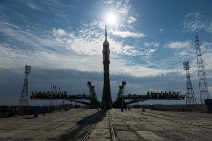 The Soyuz TMA-17M spacecraft is raised into position on the launch pad Monday, July 20, 2015 at the Baikonur Cosmodrome in Kazakhstan. Launch of the Soyuz rocket is scheduled for July 23 Baikonur time and will carry Expedition 44 Soyuz Commander Oleg Kononenko of the Russian Federal Space Agency (Roscosmos), Flight Engineer Kjell Lindgren of NASA, and Flight Engineer Kimiya Yui of the Japan Aerospace Exploration Agency (JAXA) into orbit to begin their five month mission on the International Space Station. Photo Credit: (NASA/Aubrey Gemignani)