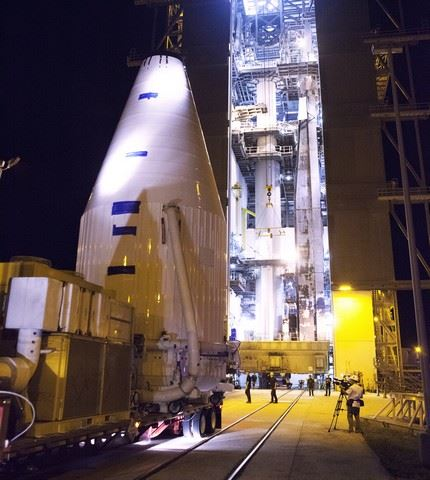 OSIRIS-REx being transported from the PHSF to the VIF at Pad 41, then lifted to the Atlas V vehicle in preparation for launch.