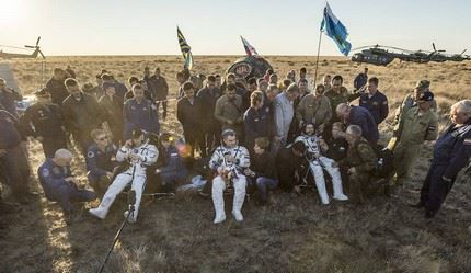 NASA astronaut Jeff Williams, left, Russian cosmonaut Alexey Ovchinin of Roscosmos, center, and Russian cosmonaut Oleg Skripochka of Roscosmos sit in chairs outside the Soyuz TMA-20M spacecraft a few moments after they landed in a remote area near the town of Zhezkazgan, Kazakhstan on Wednesday, Sept. 7, 2016(Kazakh time). Williams, Ovchinin, and Skripochka are returning after 172 days in space where they served as members of the Expedition 47 and 48 crews onboard the International Space Station. Photo Credit: (NASA/Bill Ingalls)
