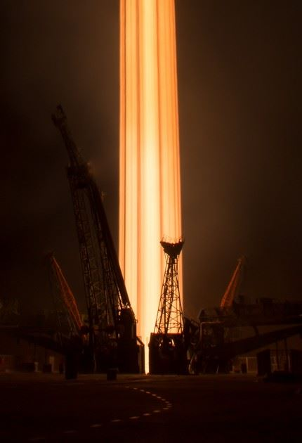 In this long exposure photograph, the Soyuz MS-03 spacecraft is seen launching from the Baikonur Cosmodrome with Expedition 50 crewmembers NASA astronaut Peggy Whitson, Russian cosmonaut Oleg Novitskiy of Roscosmos, and ESA astronaut Thomas Pesquet from the Baikonur Cosmodrome in Kazakhstan, Friday, Nov. 18, 2016, (Kazakh time) (Nov 17 Eastern time). Whitson, Novitskiy, and Pesquet will spend approximately six months on the orbital complex. Photo Credit: (NASA/Bill Ingalls)